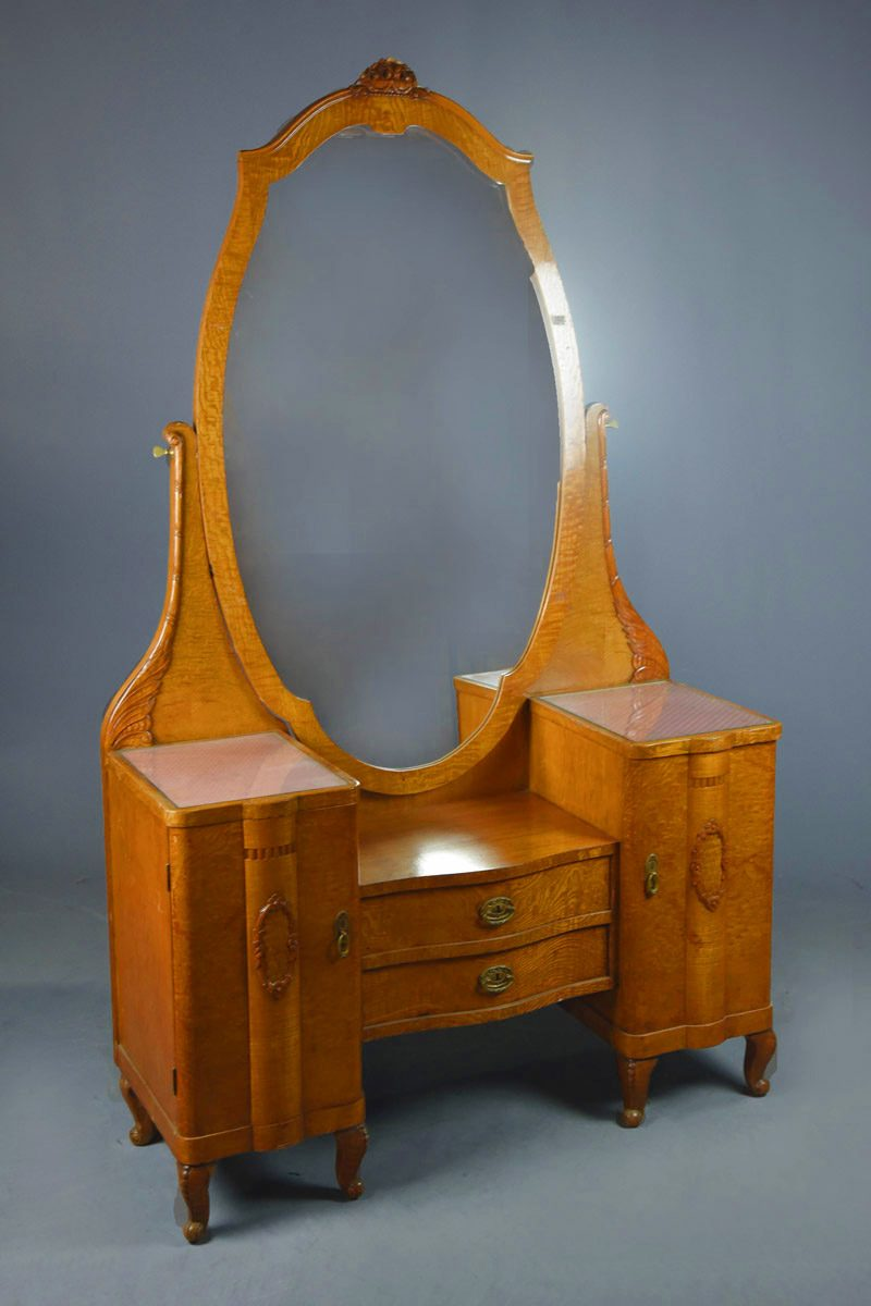 C19th Continental Burr Elm Dressing Table With Built In Oval Mirror The Classic Prop Hire Company