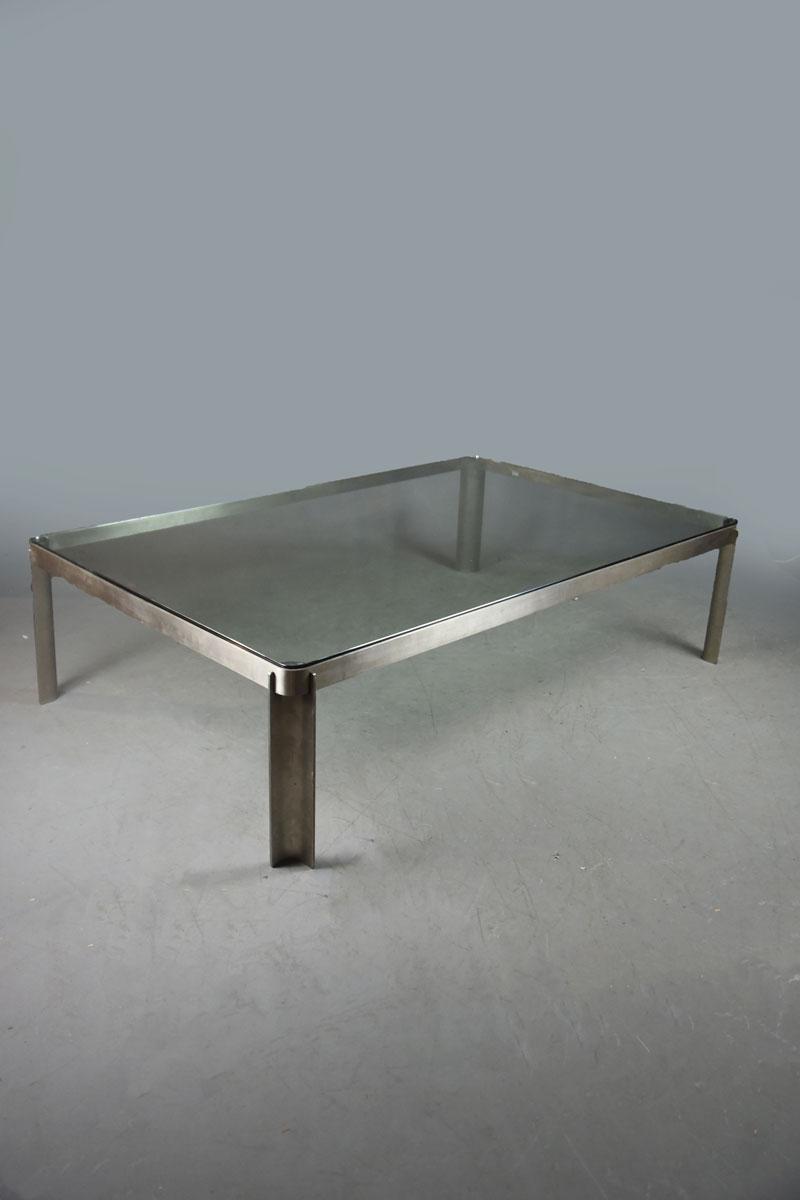 Rectangular Glass Coffee Table: Tecno S/steel & Glass Rectangular Coffee Table