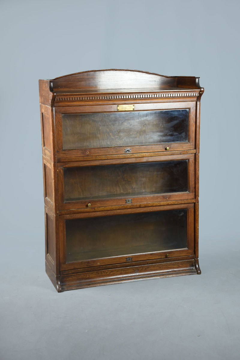 Low Bookcases With Doors: Low Oak Lebus Sectional Bookcase With Three Glazed Doors