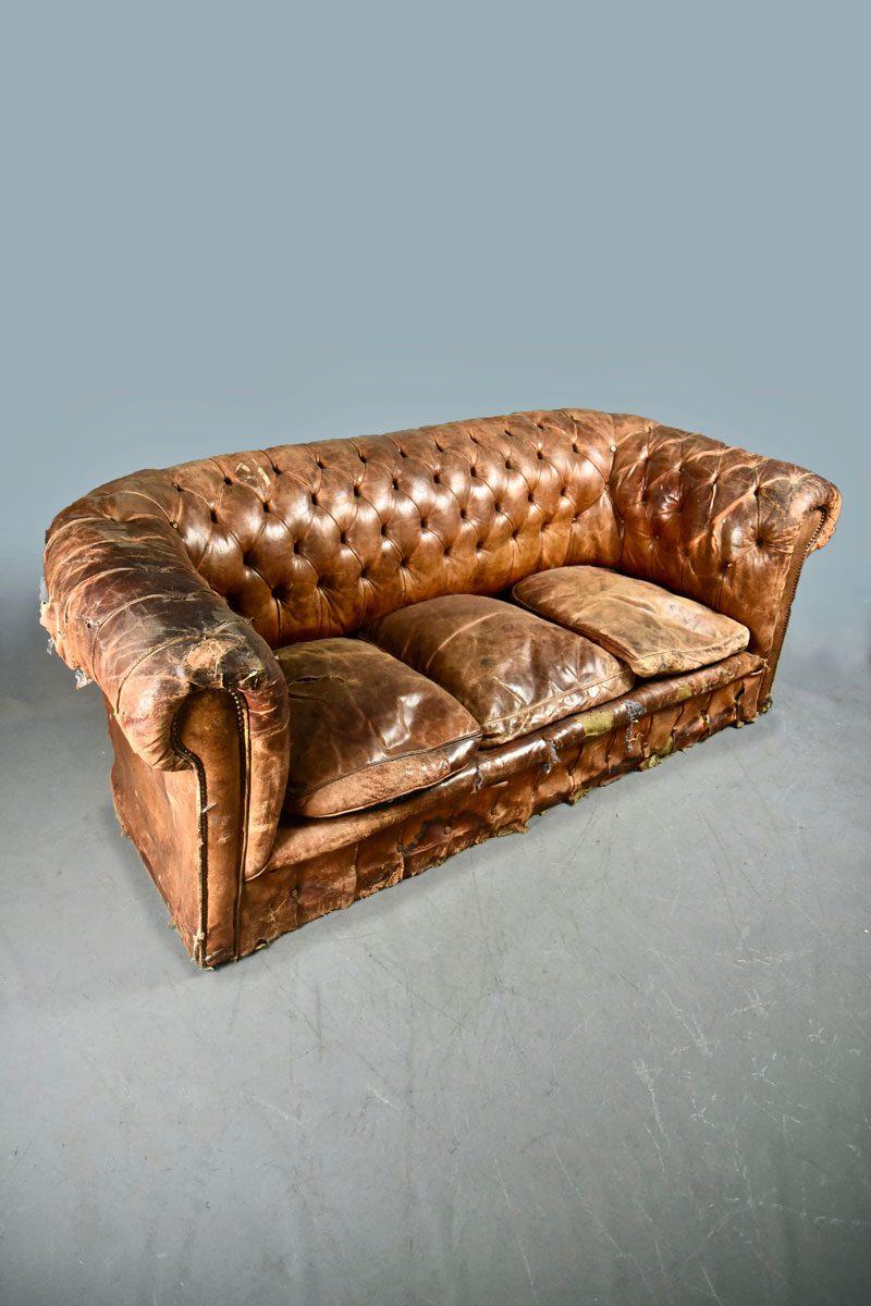Distressed Worn Light Tan Chesterfield Sofa 3 Cushions