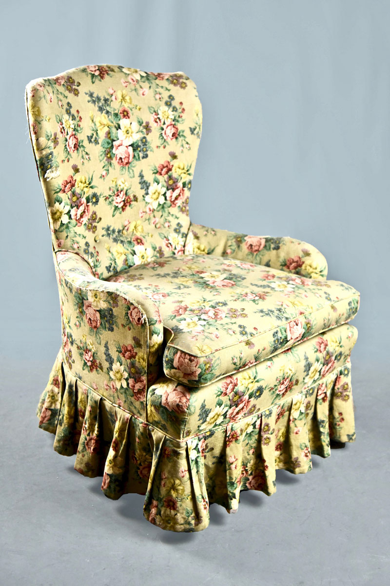 Small Easy Tub Chair In Floral Chintz With Cushion Deep Pleated