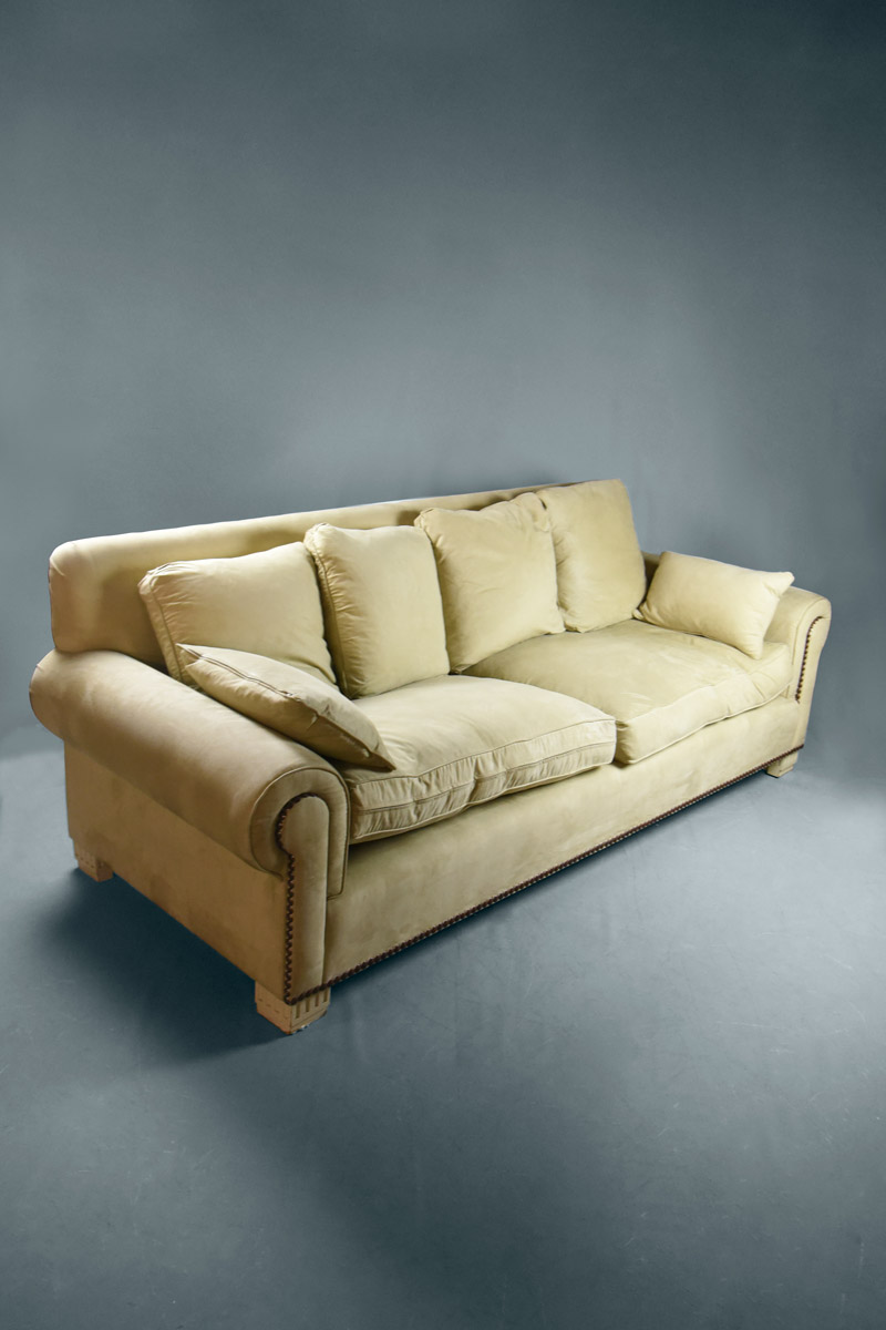 large beige alcantara sofa 4 large cushions 2 arm. Black Bedroom Furniture Sets. Home Design Ideas